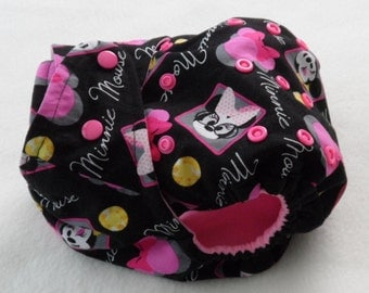 SassyCloth one size pocket diaper with Minnie Mouse cotton print. Ready to ship.