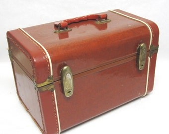 Vintage Brown Train Case Carry on Travel Cosmetic Luggage