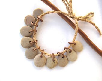 River Stone Beads Small Rock Jewelry Charms Mediterranean Beach Stone River Stone Natural Stone Pairs Small SMOOTH BEIGE CHARMS 13-14 mm