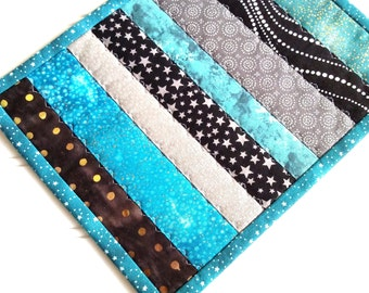 Quilted Mug Rug, Candle Mat, Teal Blue Black Gray, Stars Dots and Sky