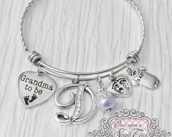 Grandma to be Bracelet-Bangle Bracelet-First time- Mother's Day Jewelry -Gifts for Grandma, Valentine's Day, Pregnancy Reveal Announcement