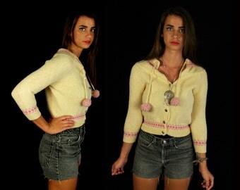 vtg 50s cream FAIRISLE KNIT tiny fit Wool CARDIGAN xs pom pom Bobbie Brooks sweater Nordic dolly boho pink winter Scandinavian