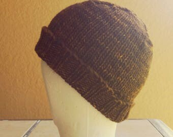 Beanie, skull cap, stocking cap, watchcap, longshoremans hat, brown, tan, beige. Hand knit in variegated brown