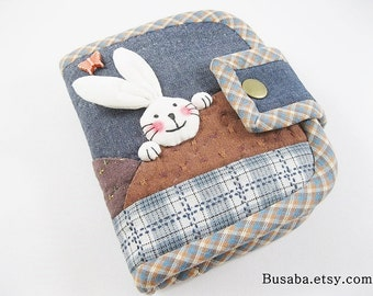 Women Wallet, Short Wallet, Handmade Quilt Wallet, Bunny Wallet, Rabbit Wallet, Denim Wallet