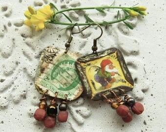 Happy La Chouffe framed recycled bottle cap earring