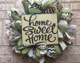 Fall Burlap Wreath Moss Green Deco Mesh Farmhouse Home Sweet Home
