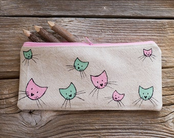 Cat Pencil Case, Pencil Pouch with Cats in Pink and Mint Green, School Supplies for Cat Lovers