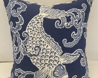 Decorative Pillow Cover in Pisces Slub Aegean & Sabaki Navy with Piping