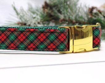 Holiday Plaid Dog Collar with Metal Buckle | Plaid Dog Collar | Boy Dog Collar | Girl Dog Collar | Holiday Dog Collar