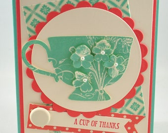 Thank You Greeting Card, Thanks, Cup of Thanks, Teacup, Vintage, Coral, Aqua, Teal, Flowers, Pearls, Stamped, Blank Inside, For Her