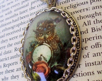 Steampunk Owl Pendant (N634), Necklace, Sparkle Graphic under Oval Glass Dome, Faux Pocket Watch Frame, Silver Chain