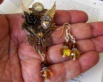 Jewelry Set (S708) Steampunk Heart Brooch, Pin and Pendant, Crystal Dangle Earrings, Brass and Silver, Valentine Gift Set