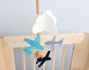 Small Mobile >> Airplane Crib Mobile · 100% Merino Wool · White Cloud and Airplanes · 22 Vibrant Colors
