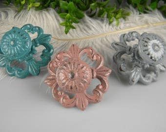 Dresser Drawer Pull Knob, Cabinet Pull, Dusty Teal, Antique Mauve, Classic Grey, White, Shabby Cottage Victorian, Cast Iron, NEW COLORS