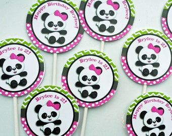 Panda Girl Personalized Cupcake Toppers Printable or Assembled - Bamboo Panda Love CollectionCollection