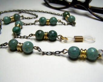 Eyeglass Chain, African Jade, Beaded Eyeglasses Holder, Gift Idea, 27 Inches