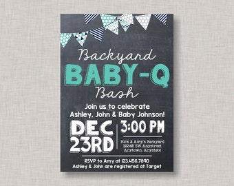 BBQ Baby Shower Invitation,Baby Q Invitation,Baby Q Bash,Baby Bash,Backyard Baby Q,Backyard Baby Bash,Coed Baby Shower,Couples Baby Shower