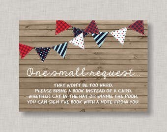 Book Request Card, Baby Shower Book Request Card, Baby Q, BBQ, Barbecue, Backyard BBQ, 4th of July, July 4th, Red, White, Blue, Navy