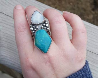 REDUCED: Double Stone Turquoise Statement Ring, Kingman Turquoise and Moonstone Ring, Sterling Silver, Handmade