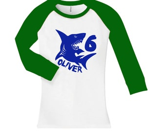 Personalized Shark Birthday Shirt -  cropped/long sleeve fitted raglan shirt - any age and name - pick your colors!