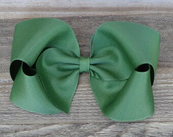 XL Boutique Hair Bow~Olive Green Hair Bow~M2M Matilda Jane Bow~Boutique Hair Bow~Basic Hairbow~Solid Color Hair Bow~Big Hair Bow~Big Bows