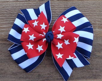 July 4th Boutique Hair Bow~July 4th Hairbow~Navy Blue Hair Bow~Patriotic Hair Bow~July 4th Hair Bows~Navy Blue Hair Bow~Large Pinwheel Bow