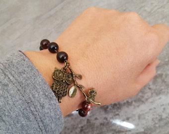 Owl and Branch Bracelet - Dream Agate Owl Bracelet - Vintage Bird Bracelet