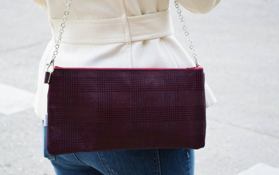 Leather bag,leather clutch, leather purse, purple clutch, houndstooth clutch, houndstooth leather, houndstooth print,  leather tote bag