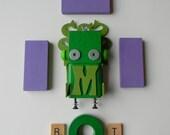 Robot Ornament - Medusa Bot - M Bot - Upcycled Ornament - Hanging Decor by Jen Hardwick