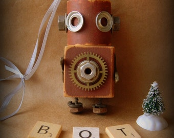 Robot Ornament - Shorty Bot - Upcycled Ornament - Hanging Decor by Jen Hardwick