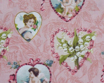 Vintage Style Valentine Fabric, Valentines Fabric, Cupid and Hearts, Romantic Fabric, By the Yard, Valentine Hearts, Cotton Fabric