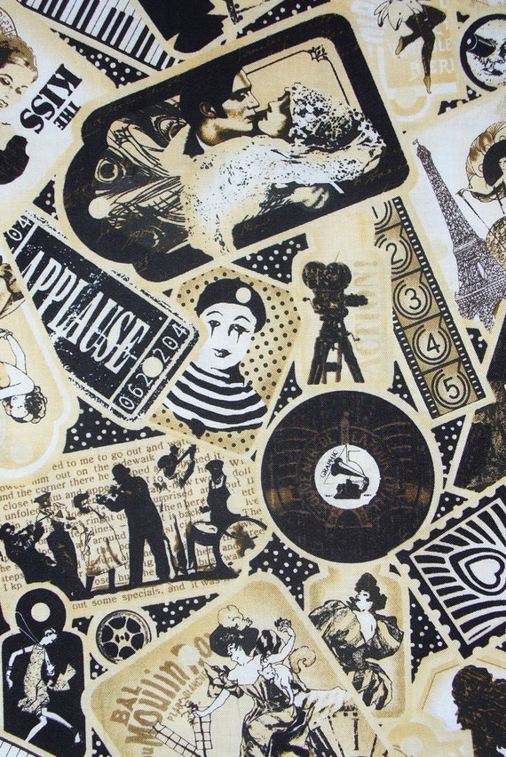 Curtain Call Fabric, Movies Fabric, Silent Films, Charlie Chaplin, Rudolph Valentino,  Collage Style, By the Yard, Cotton Fabric