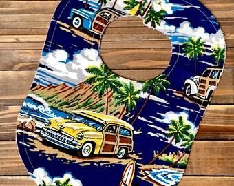 Boy Baby Bib, Hawaiian, Hawaii Baby, Baby Birthday Party, 1st Birthday, First Birthday, Luau, Surfboard, Surfing, Baby Bibs, Baby Bib, Bibs
