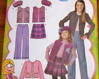 Sewing Pattern Simplicity 4895 Lizzie McGuire Girls Separates, Jacket Vest Skirt Pants Beret Hat Size 3 4 5 6 Chest 22 23 24 25 Uncut FF