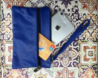 Small genuine leather wristlet BAG, iPhone case, Cosmetic bag, Make up bag,Purse in BLUE soft leather.