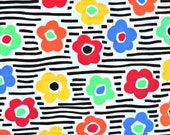 Rainbow Flower Fabric, 50 Percent Cotton/50 Percent Polyester, Fabric by the Yard