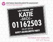DIY Bachelorette Mugshot Sign Template | Bachelorette Mugshot Template | Editable PDF Instant Download