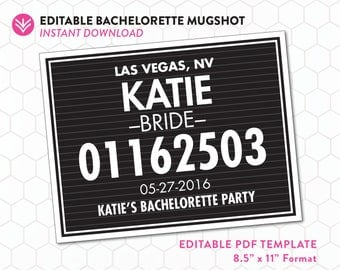 Bachelorette Mugshot Sign PDF Template | Bachelorette Mugshots | Editable PDF Instant Download