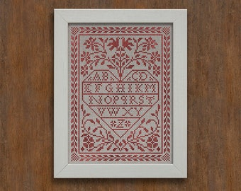 INSTANT DOWNLOAD Love Letters PDF counted cross stitch patterns by Modern Folk at thecottageneedle.com monochromatic Valentine's Day