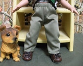 "Fits 10"" Tonner Michael Doll .. Boy Doll Sage Green Fly-Front Pants .. D904"