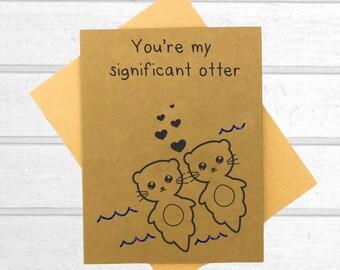 Otter Love Card - Valentines Day Card - Boyfriend Card - Kawaii Card - Love Card For Him - Cute I Love You Card - Card for Husband