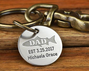 Fathers Day Fishing Gift, Dad Keychain, Personalized dad gift, First Fathers Day, New Dad Keychain - Any text up to 26 char - Made in USA