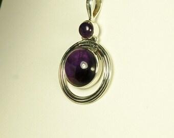Amethyst Pendant, Deep Grape Purple, Round Cabochons, Sterling Silver, February Birthstone, Purple Amethyst, Natural Amethyst, Amethyst