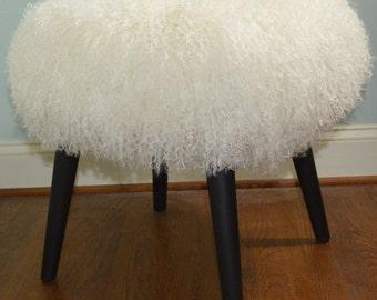 Mongolian Lamb Stool Mid Century  wood legs New USA made Tibet Lamb Fur  Sheepskin Footstool Ottoman