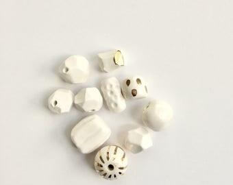 Snow White + Gold porcelain bead assortment
