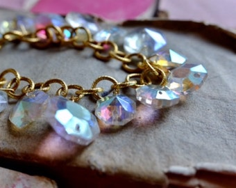 19th Century opalescent Chandelier crystal gold charm bracelet, sparkle vintage style christmas party jewellery gift