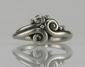 R1046-14k White Gold Swirl Ring- One of a Kind