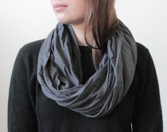 Natural infinity scarf, Linen scarf, Charcoal scarf, Unisex scarf, Linen infinity scarf, Dark grey scarf, Women scarf, Man scarf