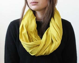 Linen scarf, Mustard infinity scarf, Natural scarf, Linen women's scarves by LHI
