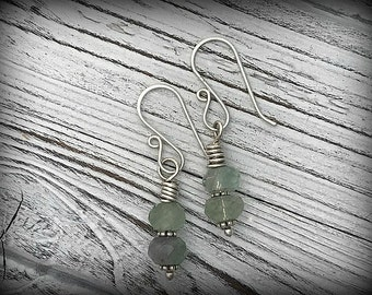 Sterling Silver Faceted Labradorite Earrings